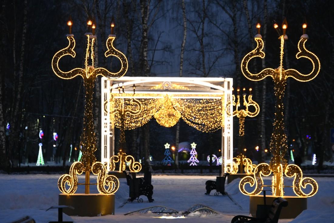 Новогодние украшения парка: ФОТО