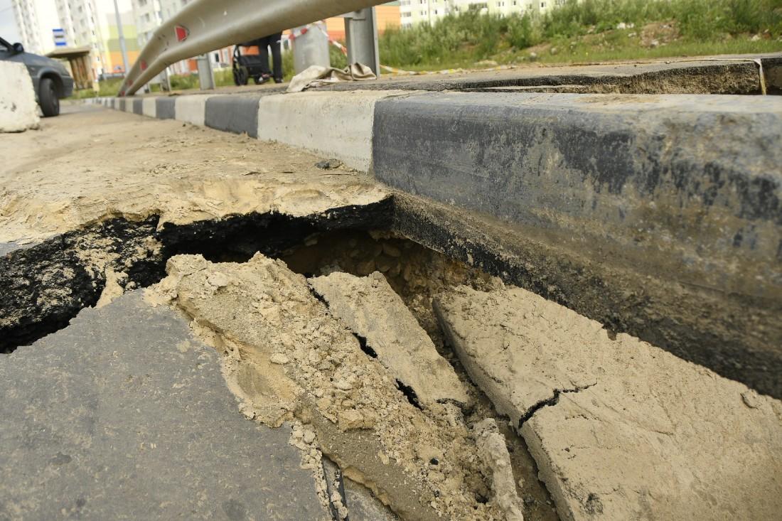 Провал новой дороги на Хворостухина: ФОТО